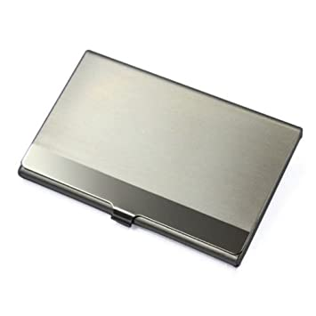 Steel Silver Aluminium Business ID Credit Card Holder Case Cover (A, Silver)