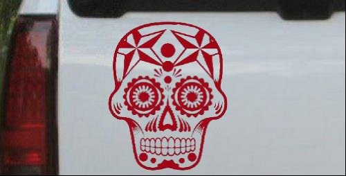 (Tattoo Sugar Skull Nautical Star Skulls Car or Truck Window Laptop Decal Sticker -- Red 6in X 4.9in)