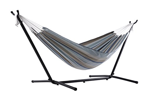Vivere C9SUNG Sunbrella Hammock with Stand Combo, Gateway Mist