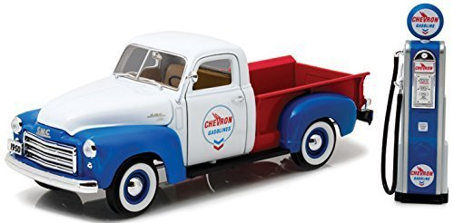 1950 GMC 150 Pickup Truck Chevron with Vintage Gas Pump 1:18 by Greenlight 12992