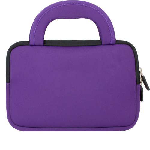 Evecase Neoprene Slim Briefcase w/ Handle & Accessory Pocket/ Ultra Portable Travel Carrying Pouch for Samsung Galaxy Tab E Lite 7.0 / Tab A 7.0 / Tab A 8.0 / Tab E 8.0 / Tab S2 - Purple by Evecase (Image #2)
