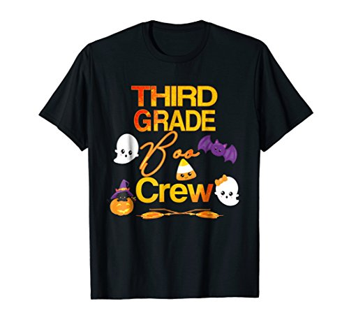 Halloween Third Grade Shirt Cute Boo Crew Teacher Kids Tee