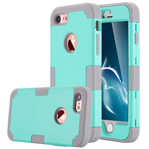 LONTECT Hybrid Heavy Duty Shockproof Full-Body Protective Case with Dual Layer Hard PC+ Soft Silicone Impact Protection for Apple iPhone 7, Teal/Grey