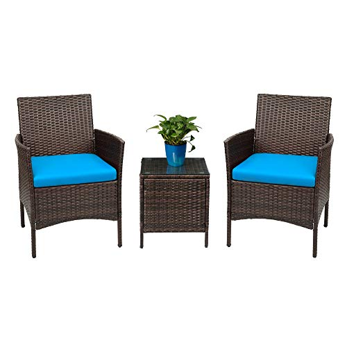 Devoko Patio Porch Furniture Sets 3 Pieces PE Rattan Wicker Chairs with Table Outdoor Garden Furniture Sets (Brown/Blue) (Blue Outdoor Furniture Wicker)