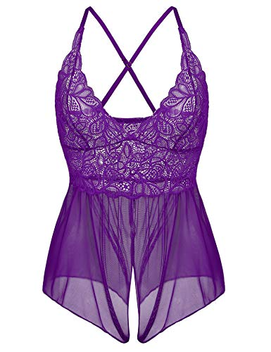 Cherrydew Lace Sheer Teddy Lingerie for Women Sexy Mesh One Piece Bodysuit Nighties (Violet,XXL)