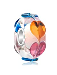Charmed Craft 925 Sterling Silver Infinity Love Goes Round Rainbow Heart Murano Glass Bead Fits European Pandora Charm Bracelets