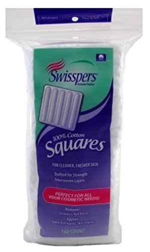 Swisspers 100% Cotton Squares Quilted 160 Count (6 Pack)