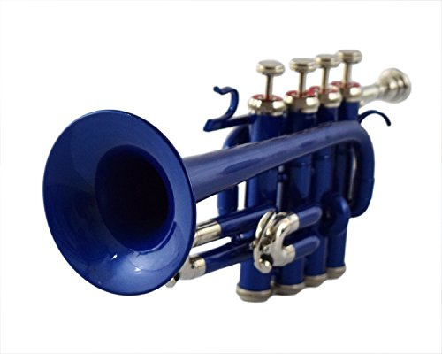 PICCOLO TRUMPET Bb PITCH BLUE+BRASS COLOR WITH CASE AND MP by Nasir Ali
