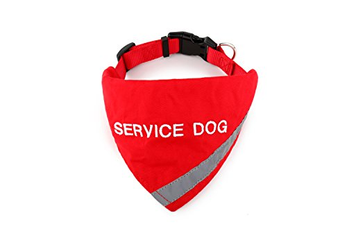 (Bandana Embroidered with Service Dog | Reflective Strip for pet Safety | Built in Matching Collar to Keep Bandana Secure | Metal Ring to Attach Leash | Four Colors (X-Small to Large))