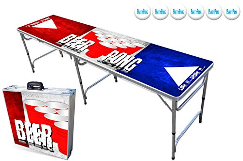 PartyPongTables.com 8-Foot Beer Pong Table w/Optional Cup Holes & LED Lights – 8 Table Designs Available