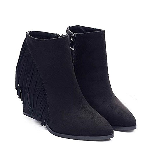 Ladies 36 Leather Slope Warm Boots Side Suede wdjjjnnnv Tassel Comfort Heels High Casual Zip Short Flat Shoes dnxqp