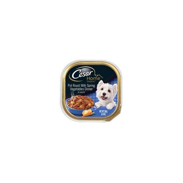 6 Individual Trays of CESAR Home Delights Wet Dog Food Pot Roast with Spring Vegetables Dinner, 3.5 oz. ea