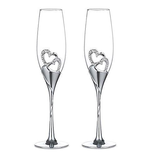 2-Piece Wedding Champagne Glasses Wine Glass Cocktail Glasses Creative Goblet/Heart-shaped Colored Enamel Crystal Wedding Goblet Set Inlaid with Diamonds