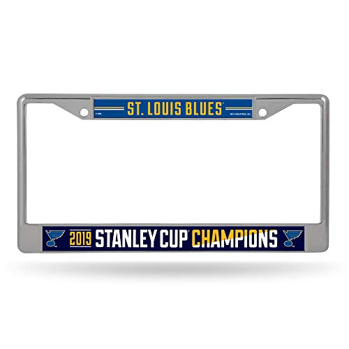 (Rico Industries NHL St. Louis Blues 2019 Stanley Cup Champions Standard Chrome License Plate Frame, 12, Blue)