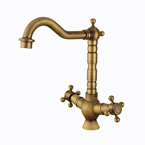 goldYING Taps Faucets  All-Copper European Hot And Cold Water Faucet Retro Spiral Kitchen Faucet Household Basin Faucet