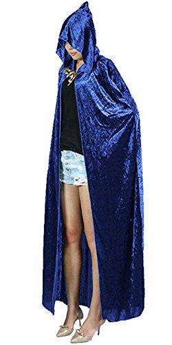 Urban CoCo Women's Costume Full Length Crushed Velvet Hooded Cape (blue) (Vampire Fancy Dress Women)