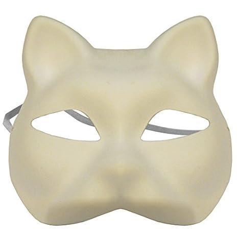 Amazon OMYGOD PLAIN WHITE CAT PAPER MACHE MASK TO DECORATE Enchanting Paper Mache Masks To Decorate