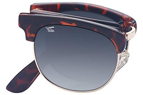 Foldies Tortoise Shell Folding Browline Sunglasses with Polarized Gradient Gray ()