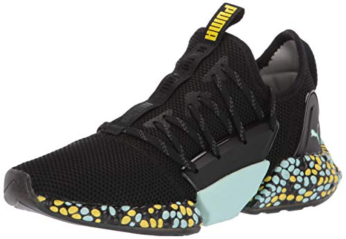 PUMA Women's Hybrid Rocket Runner Sneaker Black-fair Aqua-Blazing Yellow, 10.5 M US