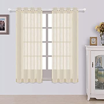 Sheer Curtains beige sheer curtains : Grommet Semi-Sheer Curtains - 2 Pieces - Total Size 108 Inch Wide ...