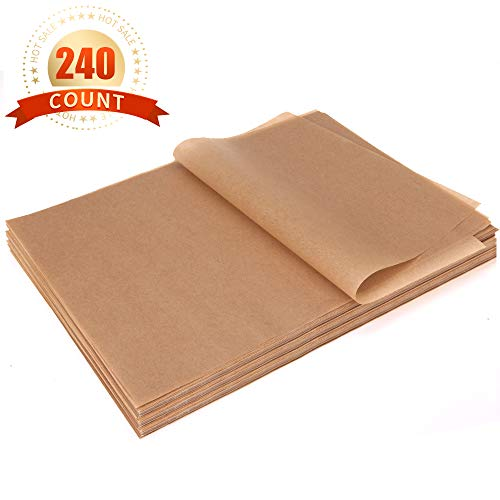 Parchment Paper Sheets 240 Count Precut Non-Stick Unbleached Parchment Paper for Baking Cooking Steaming Grilling Bread Cookie 12x16 Inches