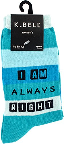 K. Bell Women's Play on Words Novelty Casual Crew Socks, Always Right (Blue), Shoe Size: 4-10 (On Christmas Play Sayings Words)