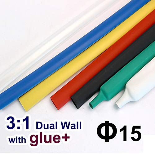 Graven 1.22meter/lot 15mm 3:1 Dual Wall Heat Shrink Tube with Thick Glue heatshrink Tubing Adhesive Lined Cable Sleeve Wrap Wire Kits - (Color: White) ()