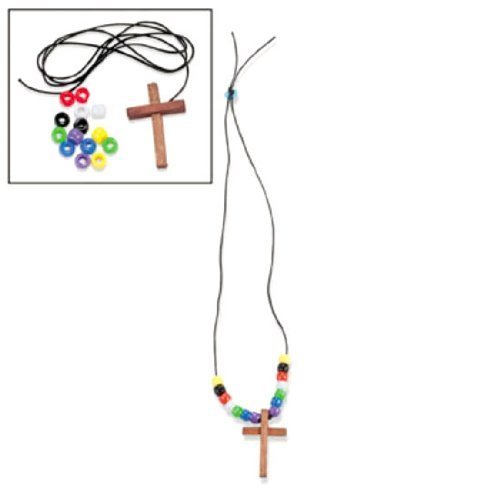 Fun Express Wood Cross Faith Necklace Craft Kits (1 dz) -