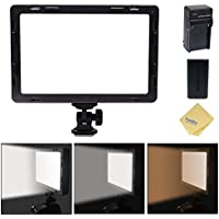 Mcoplus Air-1000b 160pcs CRI95 Bi-color Ultra-thin Dimmable Panel Digital Camera/Camcorder video Led Light for Canon Nikon Sony Panasonic Olympus Pentax Camera with Sony NP-550 Battery&Chager(Black)