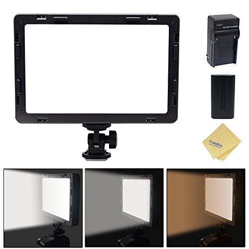 Mcoplus Air-1000b 160pcs CRI95 Bi-color Ultra-thin Dimmable Panel Digital Camera/Camcorder video Led Light for Canon Nikon Sony Panasonic Olympus Pentax Camera with Sony NP-550 Battery+charger(Black) External Viewfinder