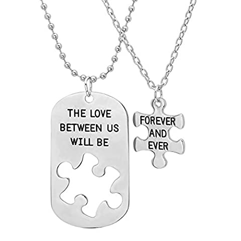 His and Hers 'The Love Between Us Will Be Forever and Ever' Dog Tag and Puzzle Piece Necklace (His Hers Dog Tags)