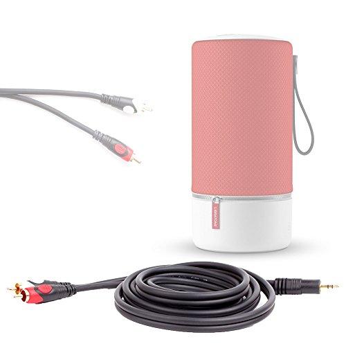 Câble stéréo pour enceintes portables VTIN Royaler, MEMTEQ CI096 et Divoom VOOMBOX OUTDOOR Bluetooth, prise jack mâle vers 2x RCA, par DURAGADGET