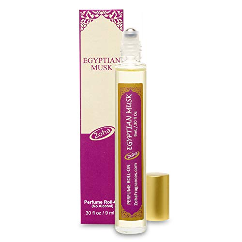 Egyptian Musk Perfume Oil Roll-On (No Alcohol) Egyptian Oil Fragrance - Essential Oils and Perfumes for Women and Men by Zoha Fragrances, 9 ml / 0.30 fl Oz (Light Oil Perfume Musk)