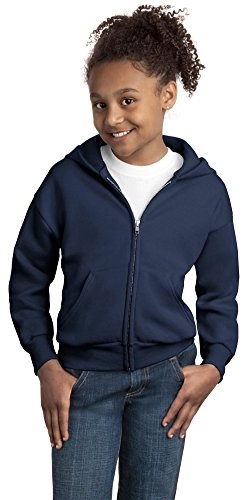 Hanes Girls Comfortblend EcoSmart Full-Zip Hooded Sweatshirt, Small, Navy