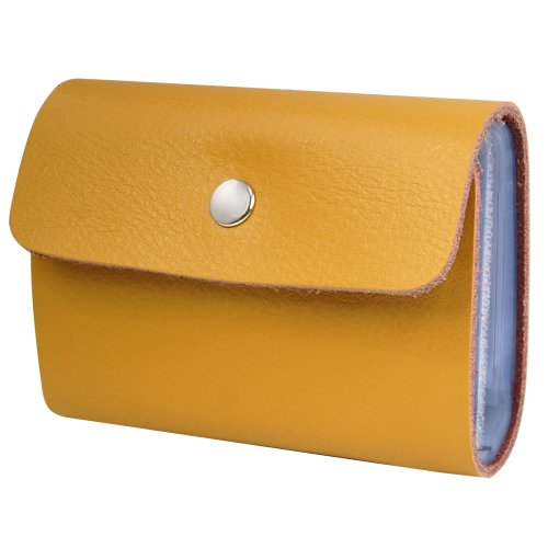 Veroda Card Holder Color Credit Soft Yellow Purse Leather ID Unisex Wallets Business Case Yellow Premium rXxrqfwA
