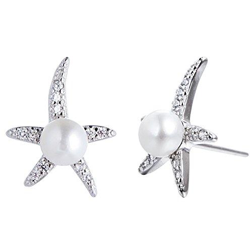 Adstones Handpicked Freshwater Cultured Pearl Starfish Stud Earrings Sterling (Pearl Starfish Earrings)