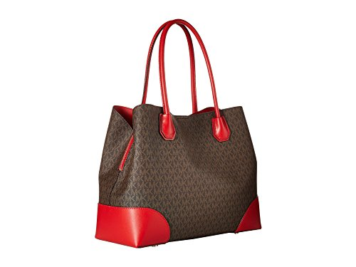 e255f2bed05017 Michael Michael Kors Annie Large Snap Top Tote, Brown/Bright Red ...