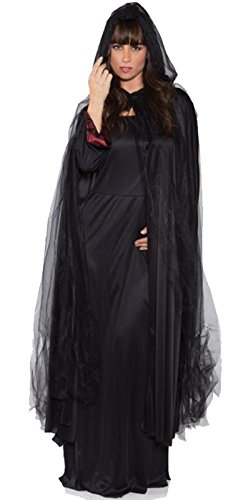 Black Tattered Full Length Ghost Cape Black Standard]()