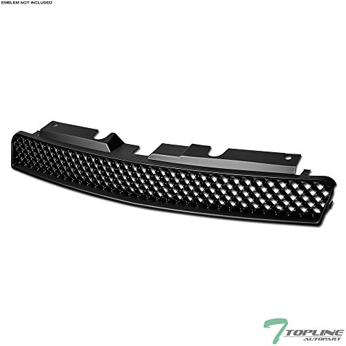Topline Autopart Matte Black Mesh Front Hood Bumper Grill Grille ABS For 06-13 Chevy Impala ; 14-16 Impala Limited ; 06-07 Monte Carlo ()