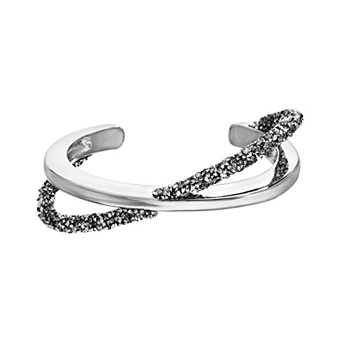 Crystal Crush High Polished Metal and Grey Crystal Crossover Design Cuff Bangle Bracelet for Women Bracelet for Women in Rhodium Plated Brass (White)