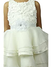 Cute one big flowers girls dress sash flowergirls sash (White)