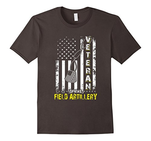 Mens Field Artillery Veteran American Flag Tshirt Medium Asphalt