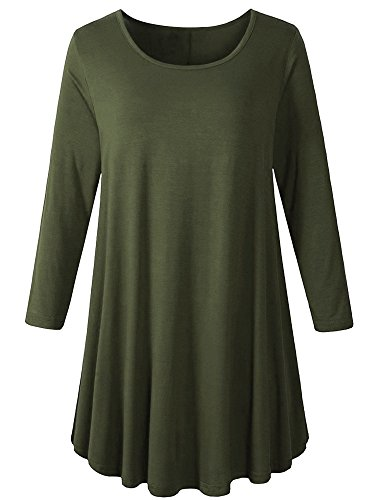 Veranee Women's Plus Size Swing Tunic Top 3/4 Sleeve Floral Flare T-Shirt (XX-Lrge, Army Green)