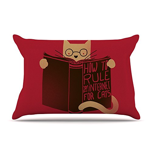 30 x 20 Kess InHouse Tobe Fonseca How to Rule The Internet for Cats Red Typography Fleece Pillow Case