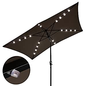 Yescom 10x6.5 ft Rectangle Outdoor Patio Aluminium Umbrella Sun Shade Solar Powered Led Light Crank Tilt Chocolate