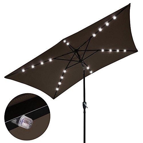 Yescom 10x6.5 ft Rectangle Outdoor Patio Aluminium Umbrella Sun Shade Solar Powered Led Light Crank Tilt Chocolate