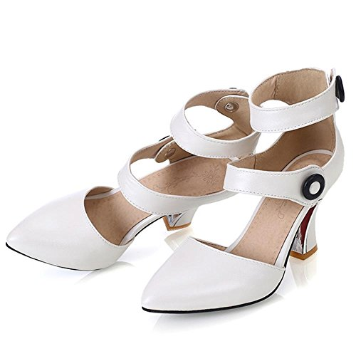 Coolcept Mujer Moda Clasico Al Tobillo Tacon Alto Sandalias Zapatos Blanco