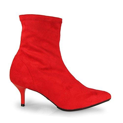 Esther Mendez Botin Vestir Ante Strech Rojo