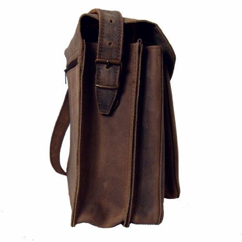 FREIHERR VON MALTZAHN Große Umhängetasche, Schultertasche GANDHI aus braunem BIO-Leder mit Lederpflege, Made in Germany