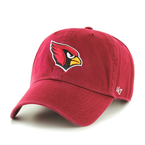 '47 NFL Arizona Cardinals Clean Up Adjustable Hat, Dark Red, One Size Fits All Fits All (Baseball Hats Cardinal)